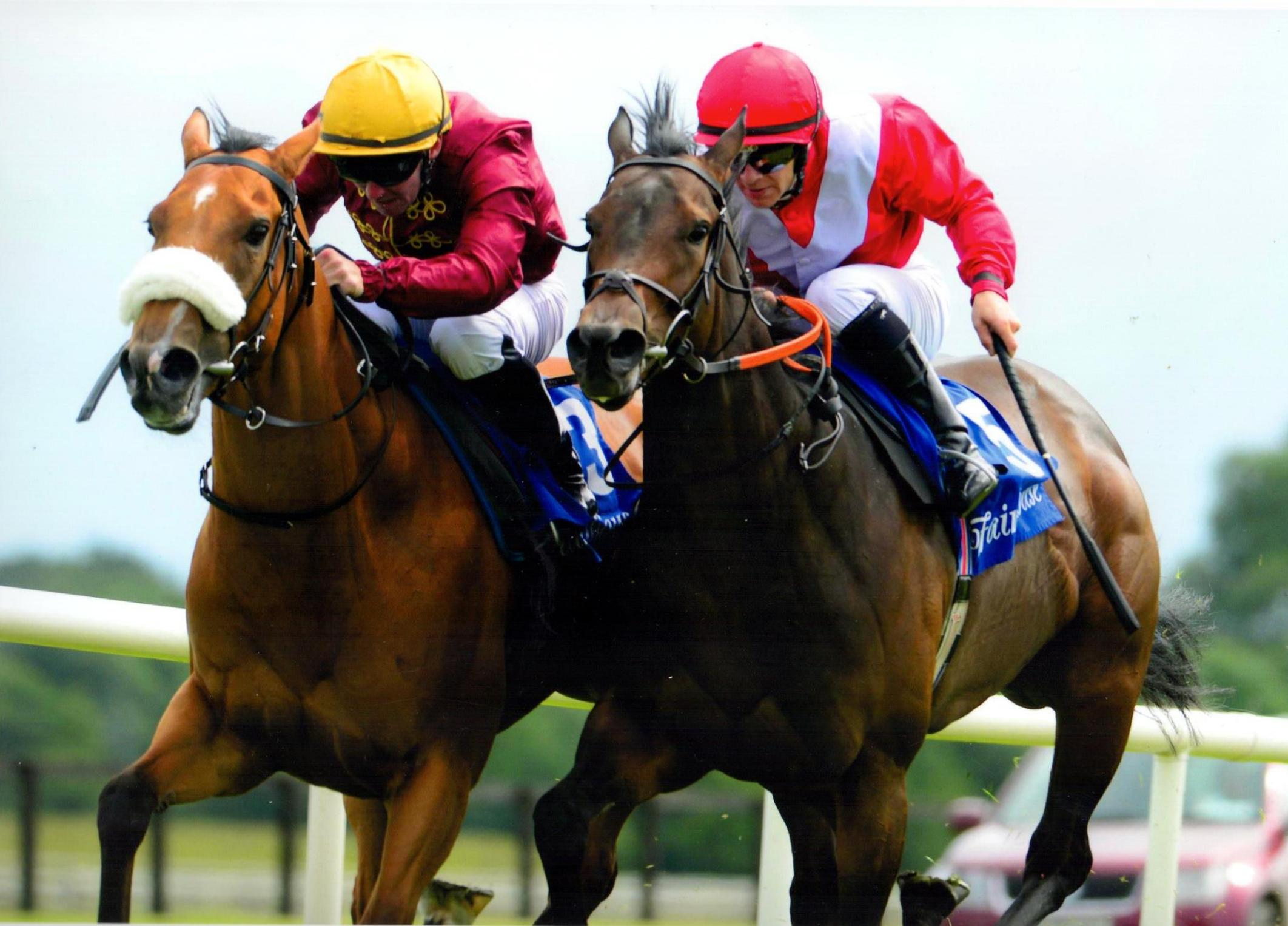 QUEEN CATRINE lands the Irish Stallion Farms EBF Brownstown Stakes Gr3  at Fairyhouse 10th July 2016
