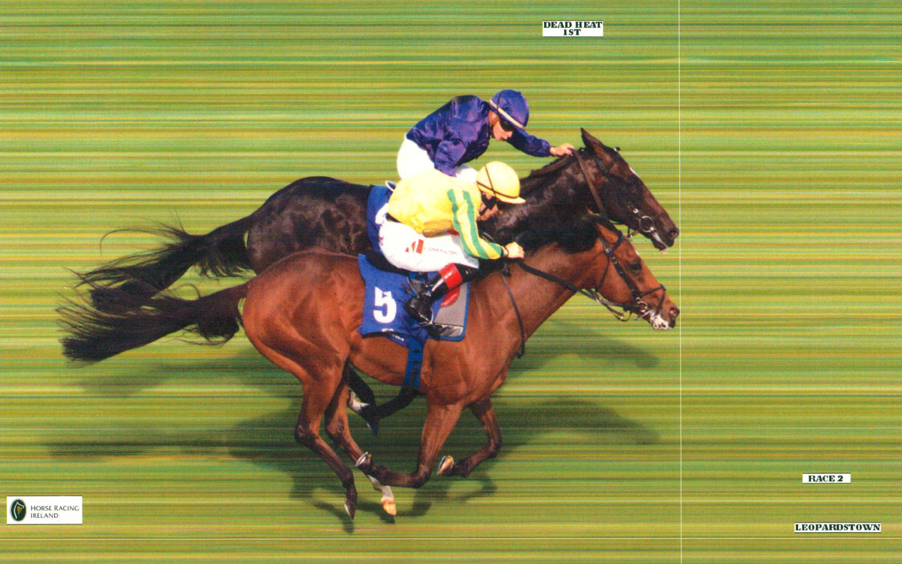 PYTHION (yellow & green) swoops late to dead heat on his debut at Leopardstown, 26th July 2018