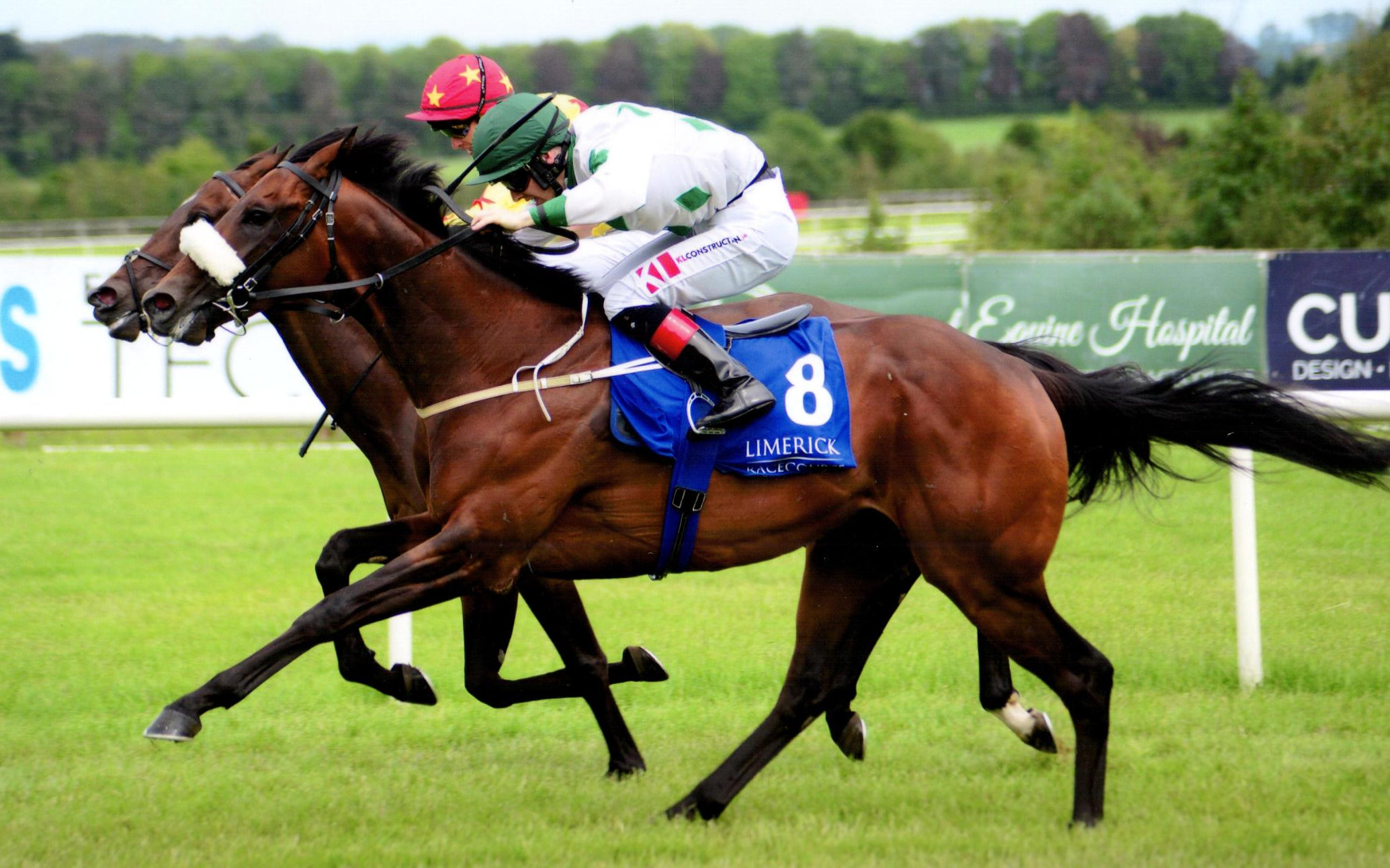 PHOENIX OPEN is pushed out by Colin (green and white) to win his maiden at Limerick, 7th July 2019